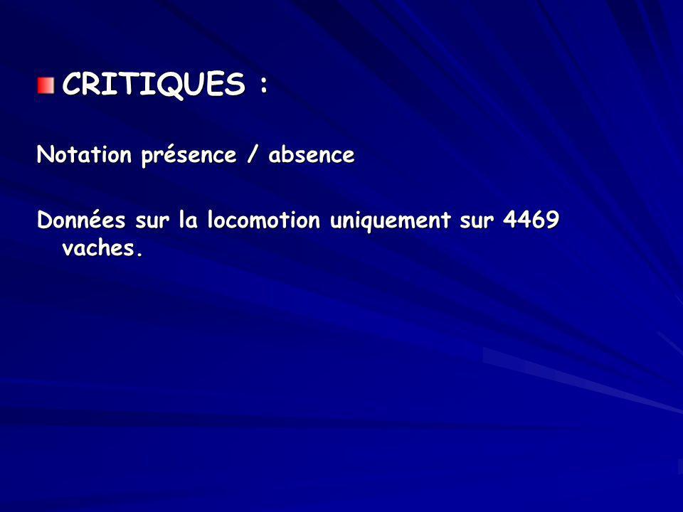 CRITIQUES : Notation présence / absence Données sur la locomotion uniquement sur 4469 vaches.