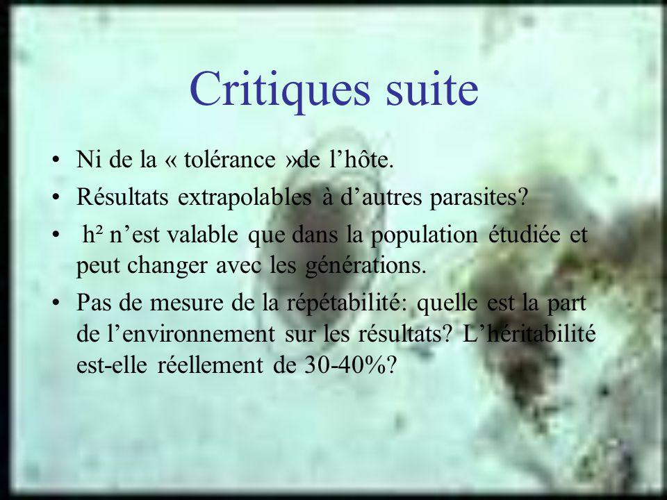 Critiques suite Ni de la « tolérance »de lhôte. Résultats extrapolables à dautres parasites? h² nest valable que dans la population étudiée et peut ch