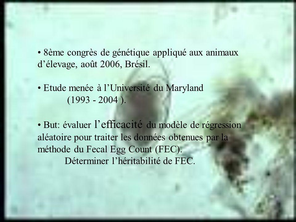 8ème congrès de génétique appliqué aux animaux délevage, août 2006, Brésil. Etude menée à lUniversité du Maryland (1993 - 2004 ). But: évaluer leffica