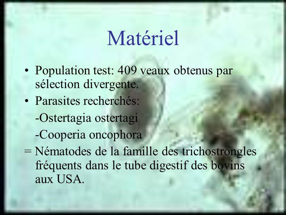 Matériel Population test: 409 veaux obtenus par sélection divergente. Parasites recherchés: -Ostertagia ostertagi -Cooperia oncophora = Nématodes de l