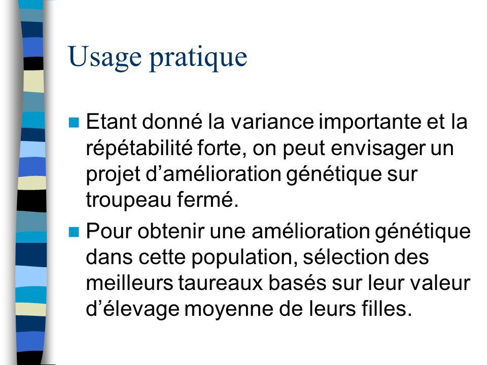 Usage pratique Etant donné la variance importante et la répétabilité forte, on peut envisager un projet damélioration génétique sur troupeau fermé. Po