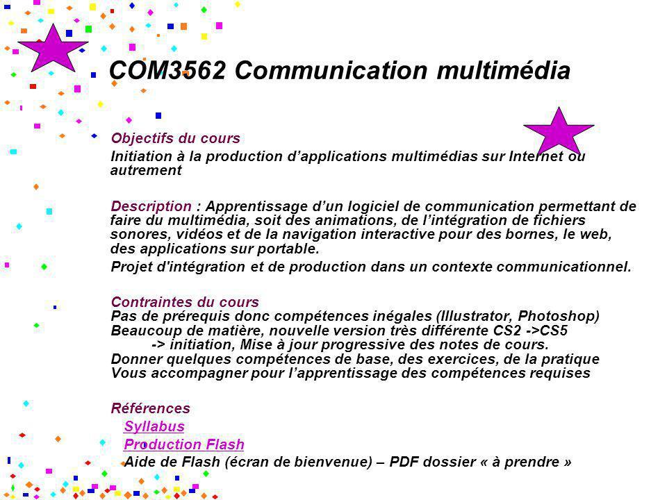 COM3562 Communication multimédia Objectifs du cours Initiation à la production dapplications multimédias sur Internet ou autrement Description : Appre