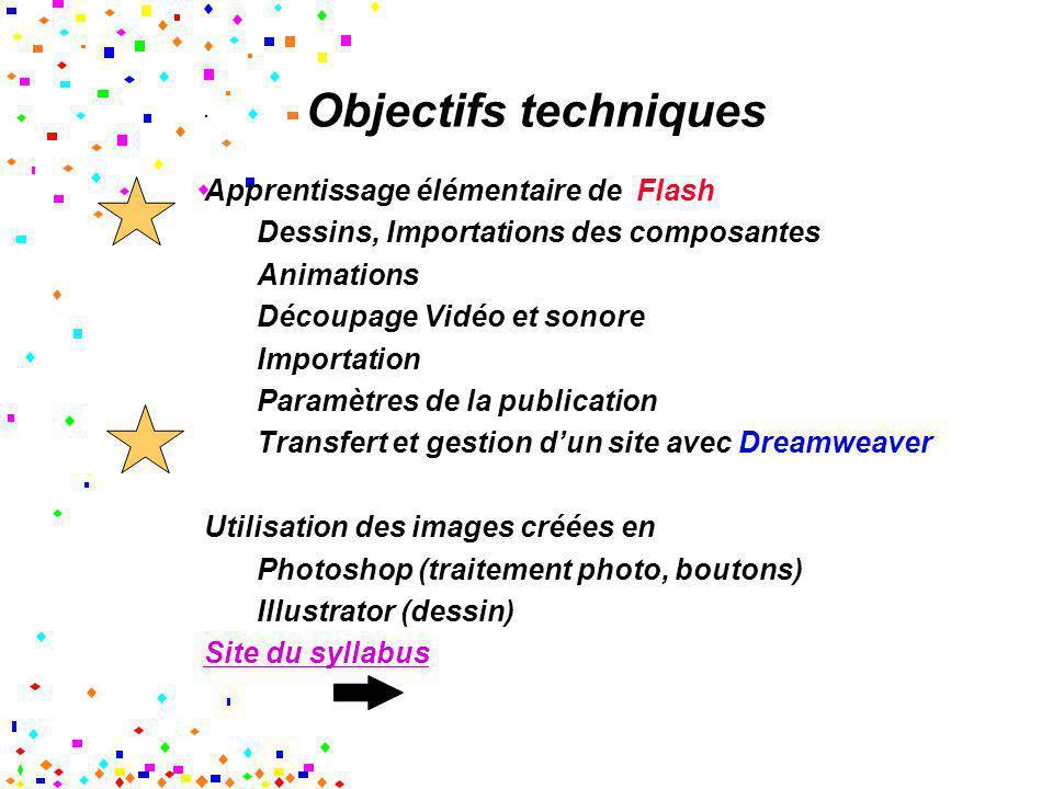 Objectifs techniques Apprentissage élémentaire de Flash Dessins, Importations des composantes Animations Découpage Vidéo et sonore Importation Paramèt