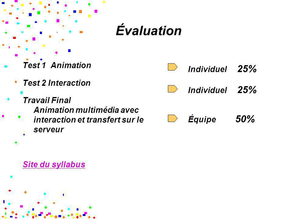 Évaluation Test 1 Animation Test 2 Interaction Travail Final Animation multimédia avec interaction et transfert sur le serveur Site du syllabus Indivi