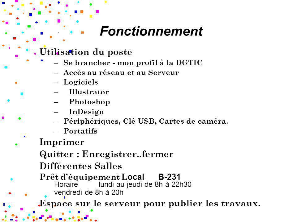 Fonctionnement Utilisation du poste – Se brancher - mon profil à la DGTIC – Accès au réseau et au Serveur – Logiciels – Illustrator – Photoshop – InDe