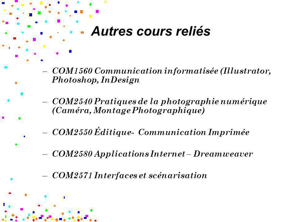Autres cours reliés – COM1560 Communication informatisée (Illustrator, Photoshop, InDesign – COM2540 Pratiques de la photographie numérique (Caméra, M