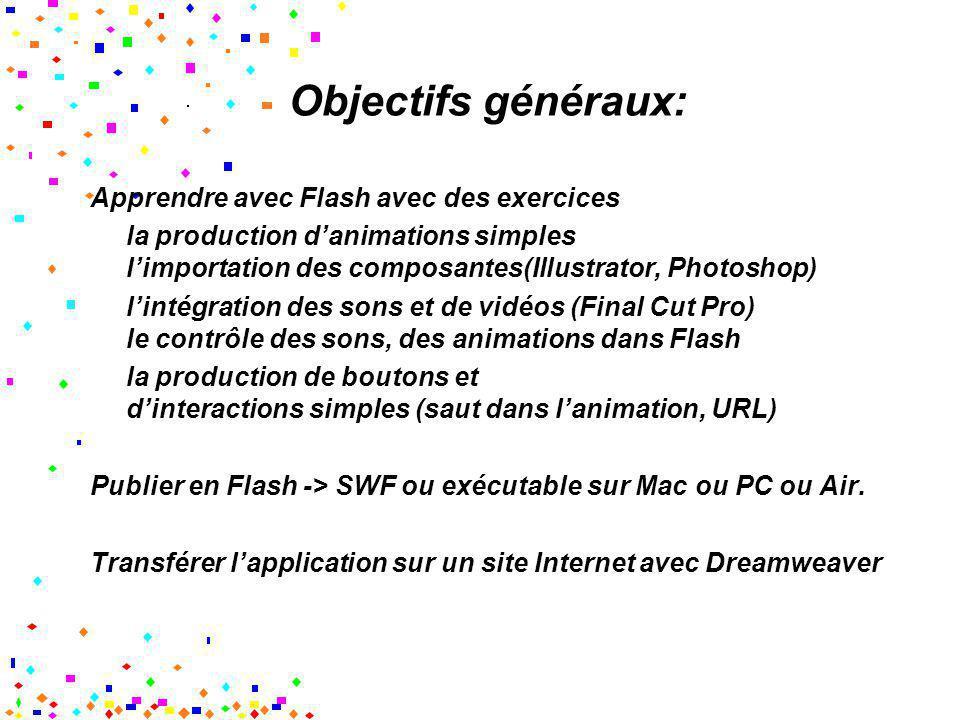 Objectifs généraux: Apprendre avec Flash avec des exercices la production danimations simples limportation des composantes(Illustrator, Photoshop) lin