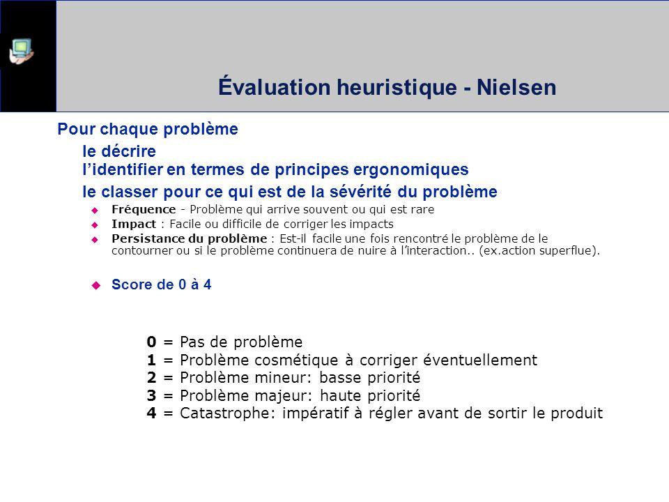 Évaluation heuristique - Nielsen Pour chaque problème le décrire lidentifier en termes de principes ergonomiques le classer pour ce qui est de la sévé