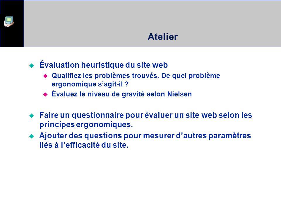 Atelier Évaluation heuristique du site web Qualifiez les problèmes trouvés. De quel problème ergonomique sagit-il ? Évaluez le niveau de gravité selon
