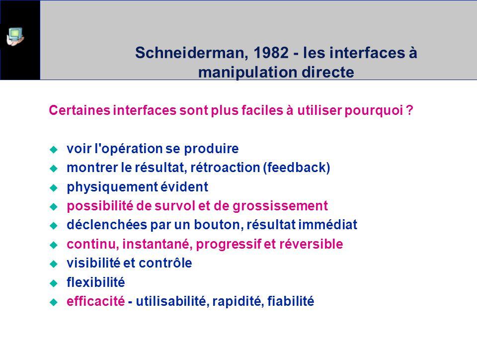 Schneiderman, 1982 - les interfaces à manipulation directe Certaines interfaces sont plus faciles à utiliser pourquoi ? voir l'opération se produire m