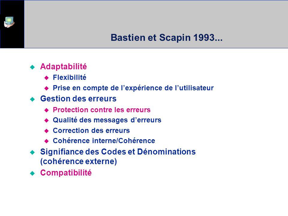 Bastien et Scapin 1993... Adaptabilité Flexibilité Prise en compte de lexpérience de lutilisateur Gestion des erreurs Protection contre les erreurs Qu