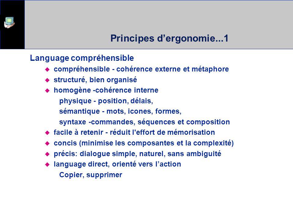 Principes dergonomie...1 Language compréhensible compréhensible - cohérence externe et métaphore structuré, bien organisé homogène -cohérence interne