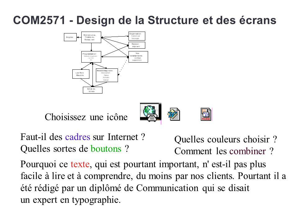 COM2571 - Design de la Structure et des écrans Quelles couleurs choisir ? Comment les combiner ? Pourquoi ce texte, qui est pourtant important, n' est
