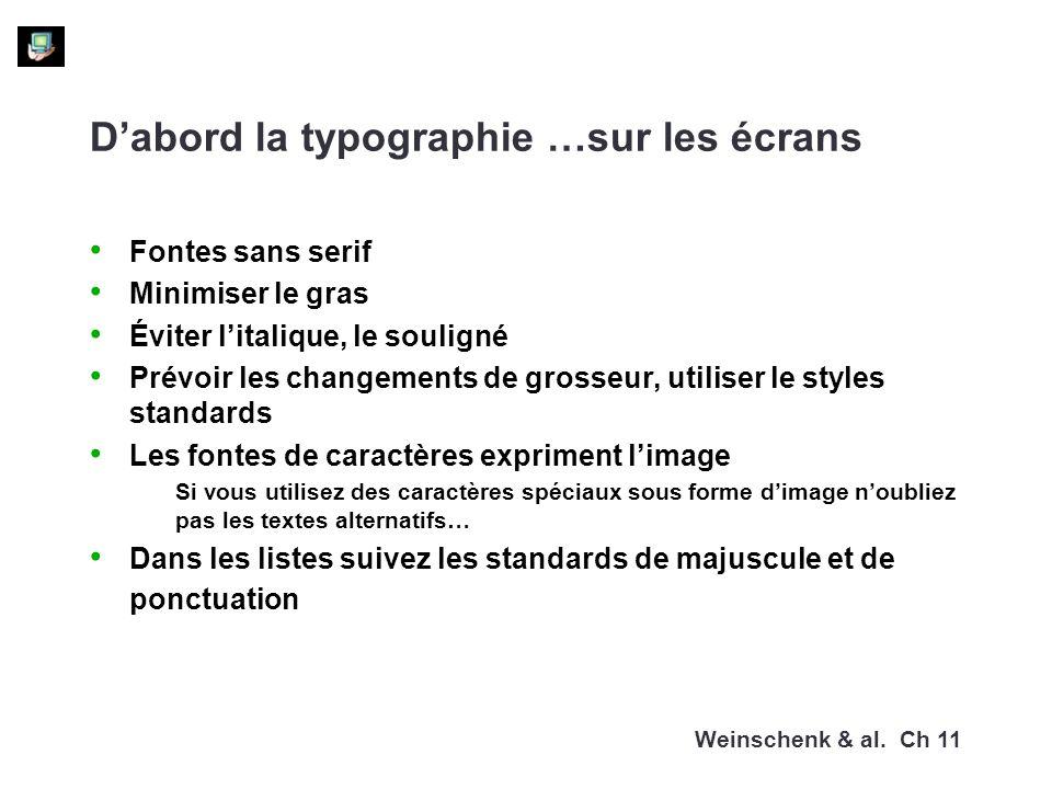 Dabord la typographie …sur les écrans Fontes sans serif Minimiser le gras Éviter litalique, le souligné Prévoir les changements de grosseur, utiliser