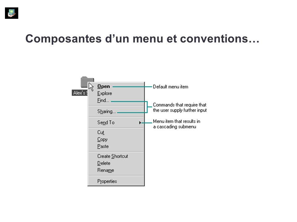 Composantes dun menu et conventions…