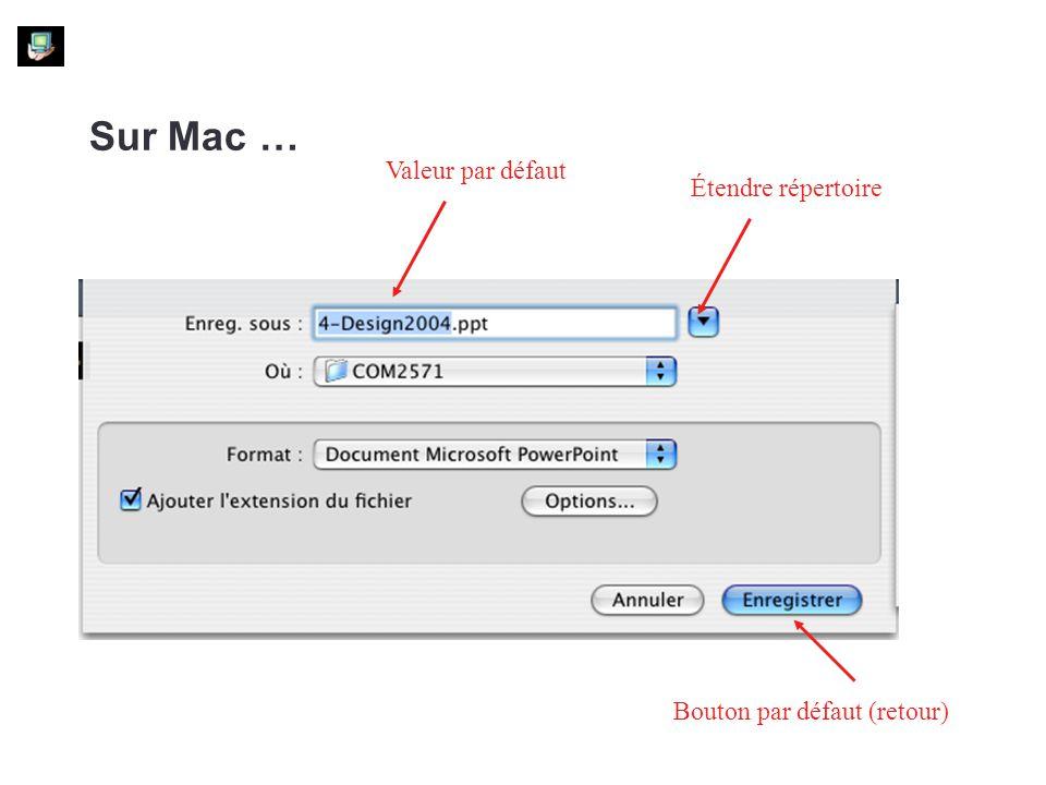 Sur Mac … Bouton par défaut (retour) Valeur par défaut Étendre répertoire
