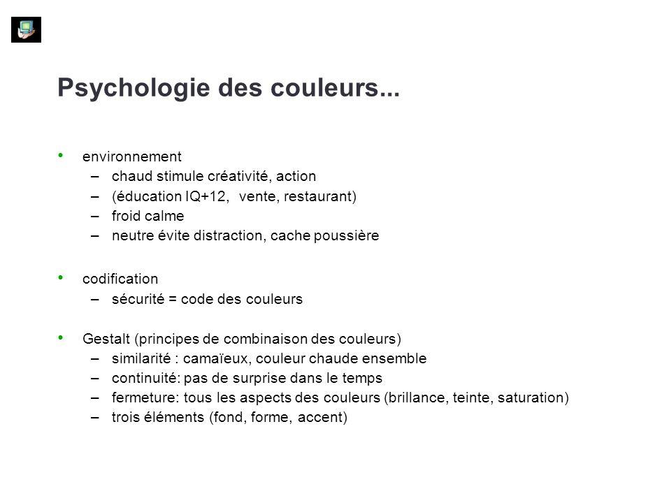 Psychologie des couleurs... environnement –chaud stimule créativité, action –(éducation IQ+12, vente, restaurant) –froid calme –neutre évite distracti