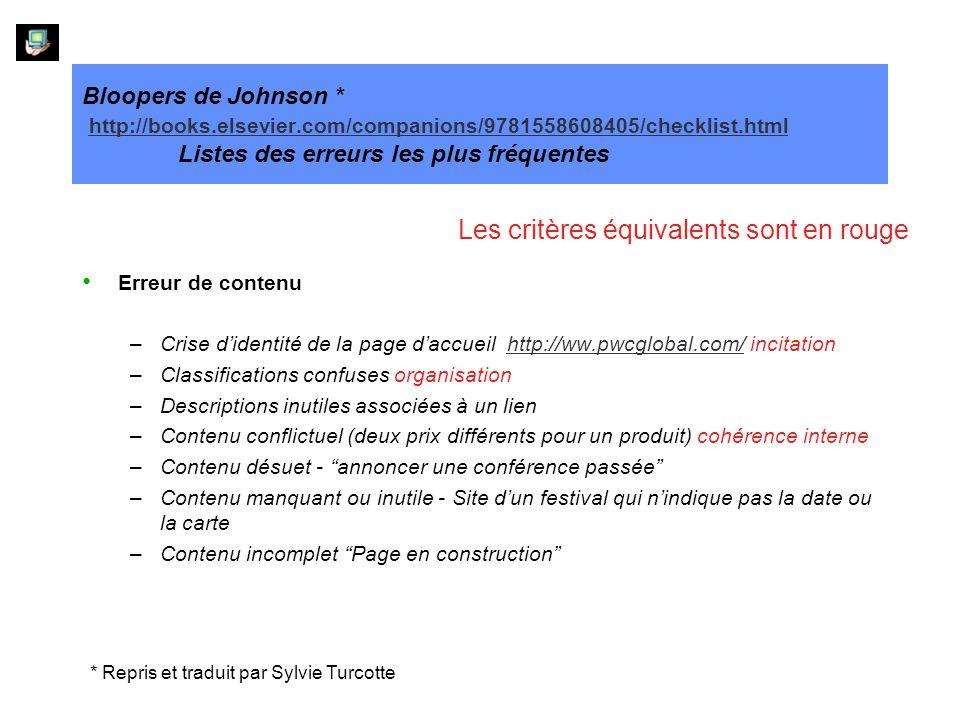 Bloopers de Johnson * http://books.elsevier.com/companions/9781558608405/checklist.html Listes des erreurs les plus fréquentes http://books.elsevier.com/companions/9781558608405/checklist.html Erreur de contenu –Crise didentité de la page daccueil http://ww.pwcglobal.com/ incitationhttp://ww.pwcglobal.com/ –Classifications confuses organisation –Descriptions inutiles associées à un lien –Contenu conflictuel (deux prix différents pour un produit) cohérence interne –Contenu désuet - annoncer une conférence passée –Contenu manquant ou inutile - Site dun festival qui nindique pas la date ou la carte –Contenu incomplet Page en construction Les critères équivalents sont en rouge * Repris et traduit par Sylvie Turcotte