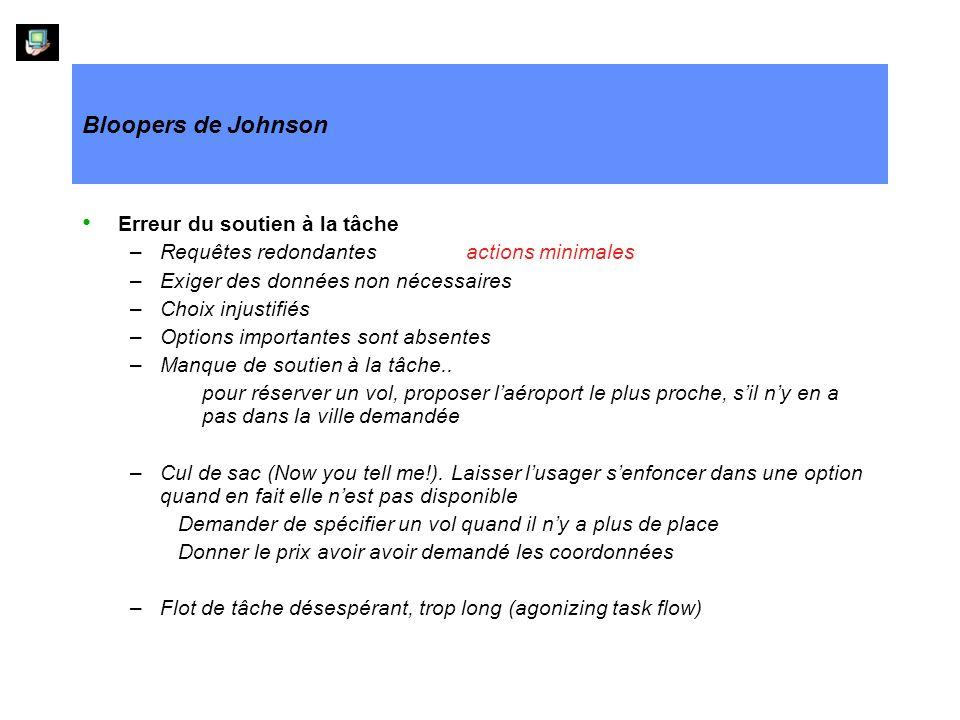 Bloopers de Johnson Erreur du soutien à la tâche –Requêtes redondantesactions minimales –Exiger des données non nécessaires –Choix injustifiés –Option