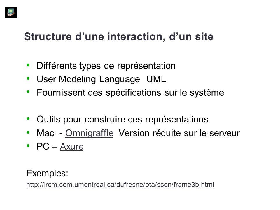 Structure dune interaction, dun site Différents types de représentation User Modeling Language UML Fournissent des spécifications sur le système Outils pour construire ces représentations Mac - Omnigraffle Version réduite sur le serveurOmnigraffle PC – AxureAxure Exemples: http://lrcm.com.umontreal.ca/dufresne/bta/scen/frame3b.html
