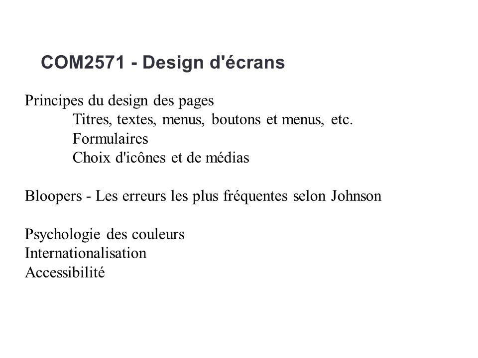 COM2571 - Design d'écrans Principes du design des pages Titres, textes, menus, boutons et menus, etc. Formulaires Choix d'icônes et de médias Bloopers