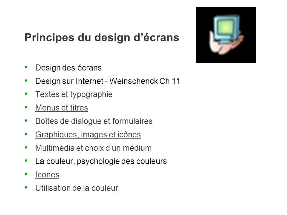 Principes du design décrans Design des écrans Design sur Internet - Weinschenck Ch 11 Textes et typographie Menus et titres Boîtes de dialogue et form