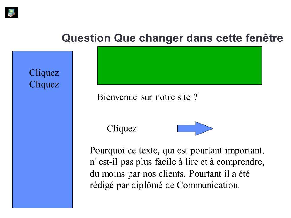 Question Que changer dans cette fenêtre Bienvenue sur notre site ? Pourquoi ce texte, qui est pourtant important, n' est-il pas plus facile à lire et