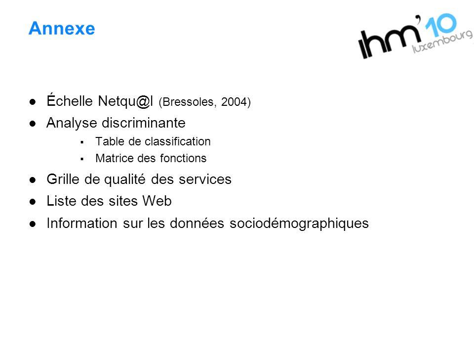 Annexe Échelle Netqu@l (Bressoles, 2004) Analyse discriminante Table de classification Matrice des fonctions Grille de qualité des services Liste des