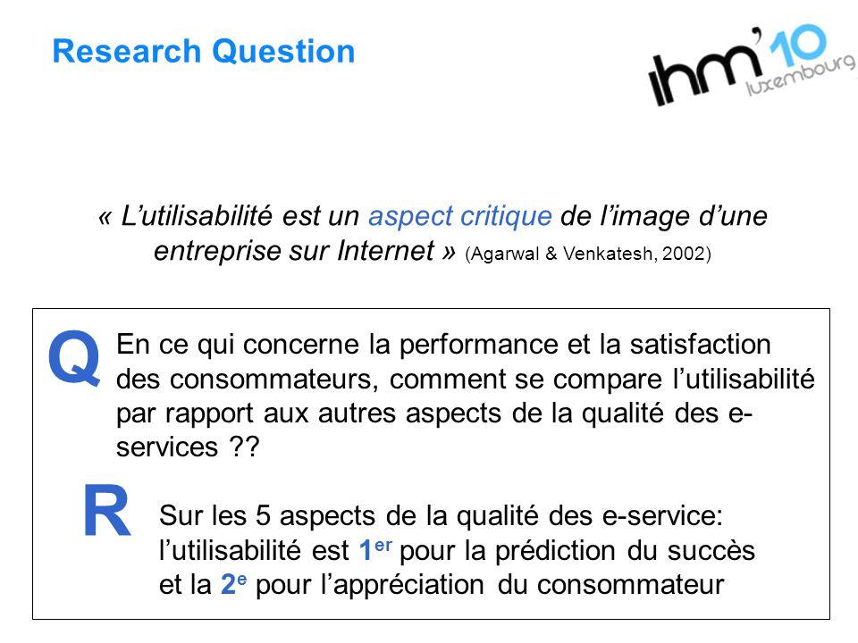 Research Question « Lutilisabilité est un aspect critique de limage dune entreprise sur Internet » (Agarwal & Venkatesh, 2002) En ce qui concerne la p