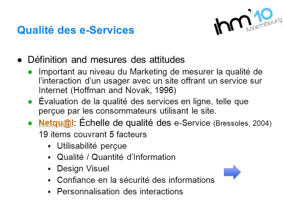 Qualité des e-Services Définition and mesures des attitudes Important au niveau du Marketing de mesurer la qualité de linteraction dun usager avec un