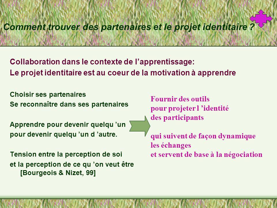 Importance du choix des partenaires Les choix sont basés sur la réputation et sur la mise en scène sociale de l identité des participants.