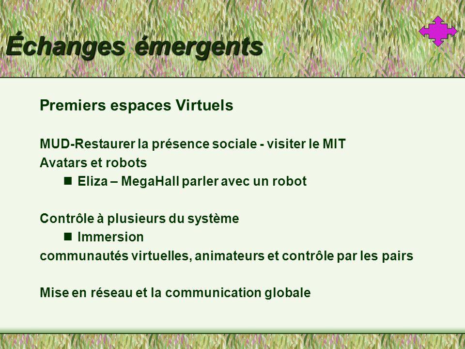 Échanges émergents Premiers espaces Virtuels MUD-Restaurer la présence sociale - visiter le MIT Avatars et robots Eliza – MegaHall parler avec un robot Contrôle à plusieurs du système Immersion communautés virtuelles, animateurs et contrôle par les pairs Mise en réseau et la communication globale
