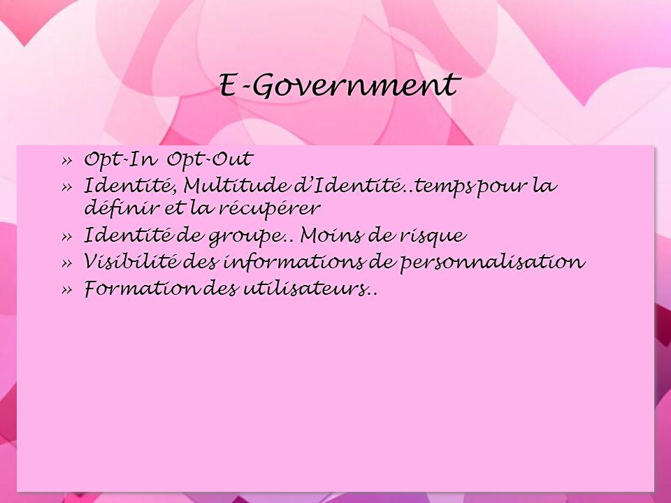 E-Government »Opt-In Opt-Out »Identité, Multitude dIdentité..temps pour la définir et la récupérer »Identité de groupe..