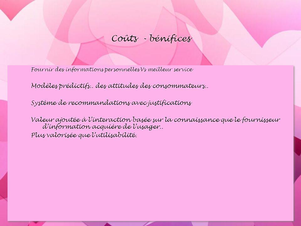 Coûts - bénifices Fournir des informations personnelles Vs meilleur service Modèles prédictifs..
