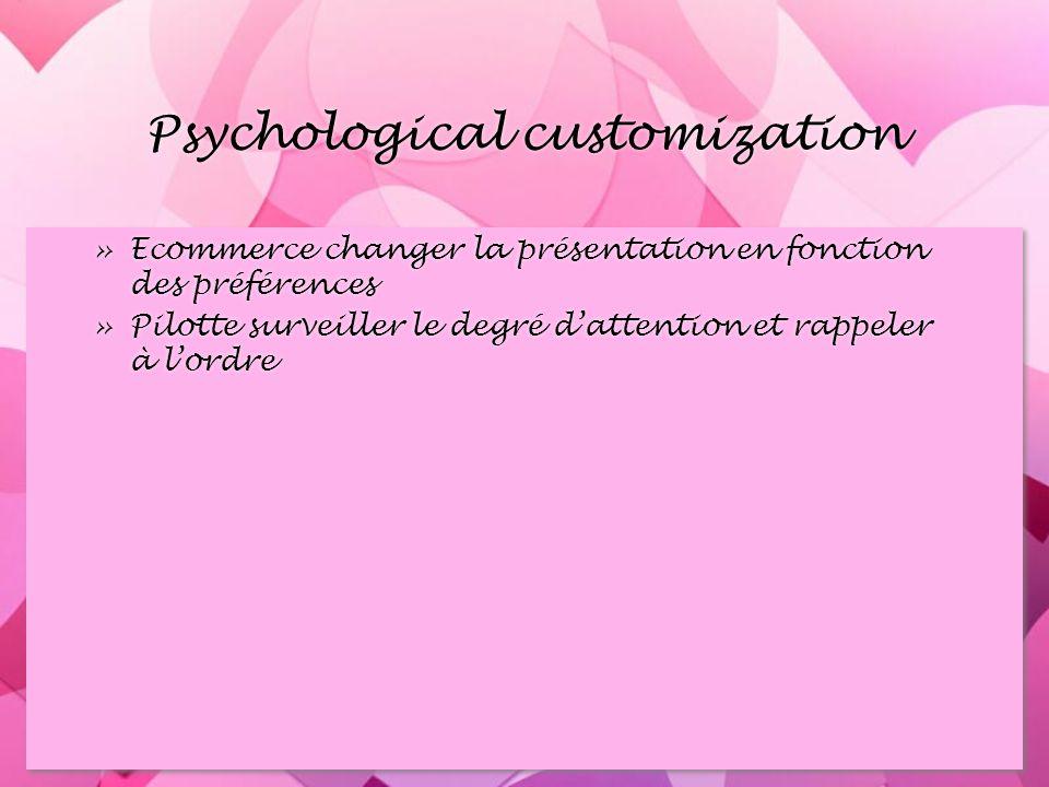 Psychological customization »Ecommerce changer la présentation en fonction des préférences »Pilotte surveiller le degré dattention et rappeler à lordre »Ecommerce changer la présentation en fonction des préférences »Pilotte surveiller le degré dattention et rappeler à lordre