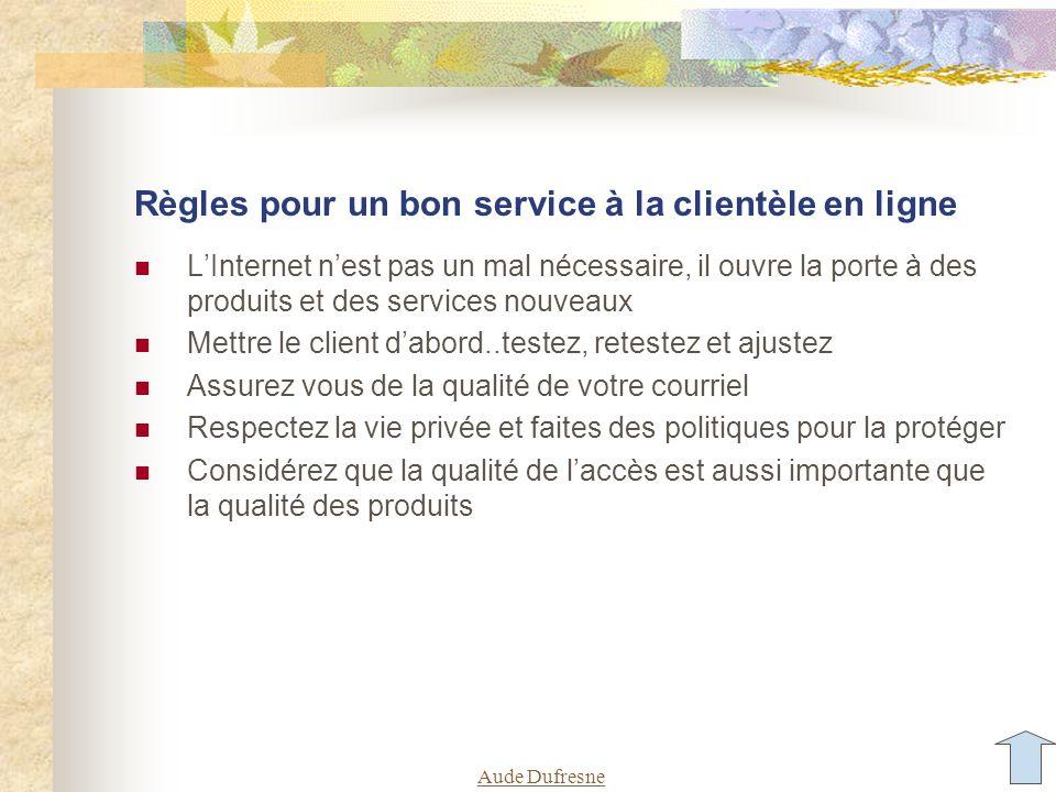 Aude Dufresne Règles pour un bon service à la clientèle en ligne LInternet nest pas un mal nécessaire, il ouvre la porte à des produits et des service