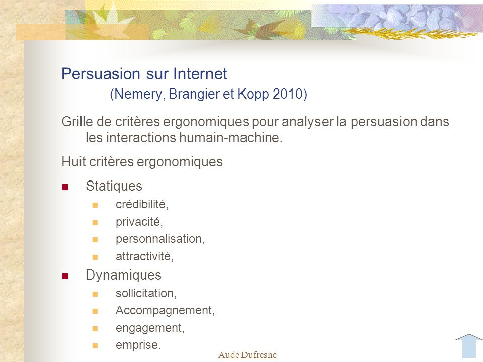 Persuasion sur Internet (Nemery, Brangier et Kopp 2010) Grille de critères ergonomiques pour analyser la persuasion dans les interactions humain-machine.