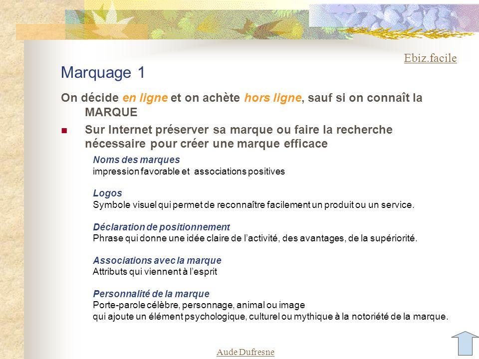 Aude Dufresne Marquage 1 On décide en ligne et on achète hors ligne, sauf si on connaît la MARQUE Sur Internet préserver sa marque ou faire la recherc