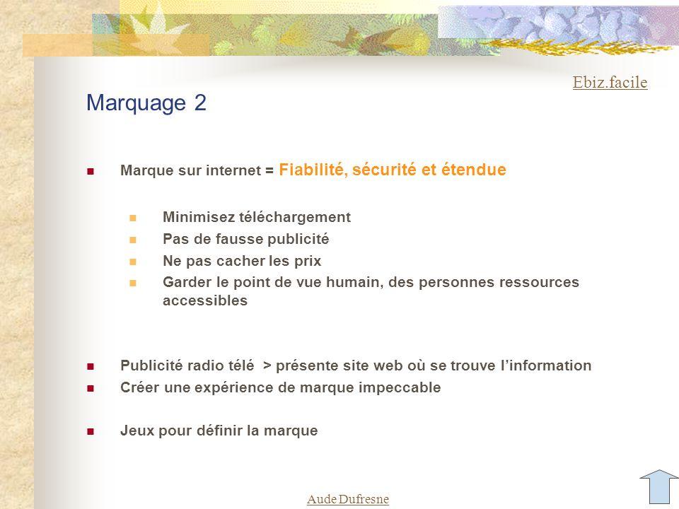 Aude Dufresne Marquage 2 Marque sur internet = Fiabilité, sécurité et étendue Minimisez téléchargement Pas de fausse publicité Ne pas cacher les prix