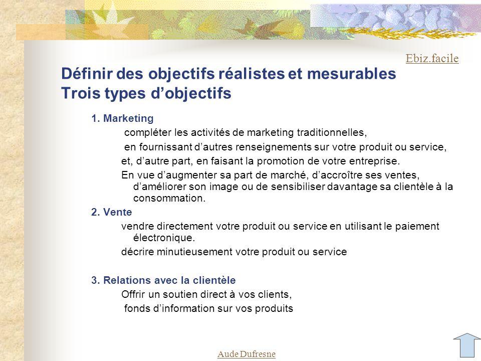 Aude Dufresne Définir des objectifs réalistes et mesurables Trois types dobjectifs 1. Marketing compléter les activités de marketing traditionnelles,