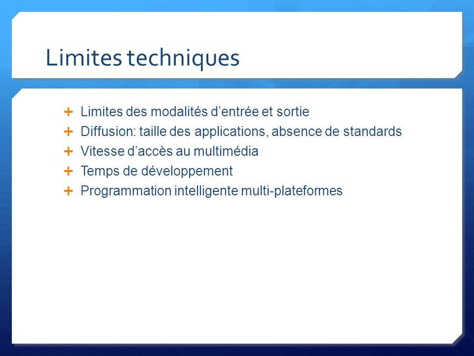 Limites techniques Limites des modalités dentrée et sortie Diffusion: taille des applications, absence de standards Vitesse daccès au multimédia Temps de développement Programmation intelligente multi-plateformes