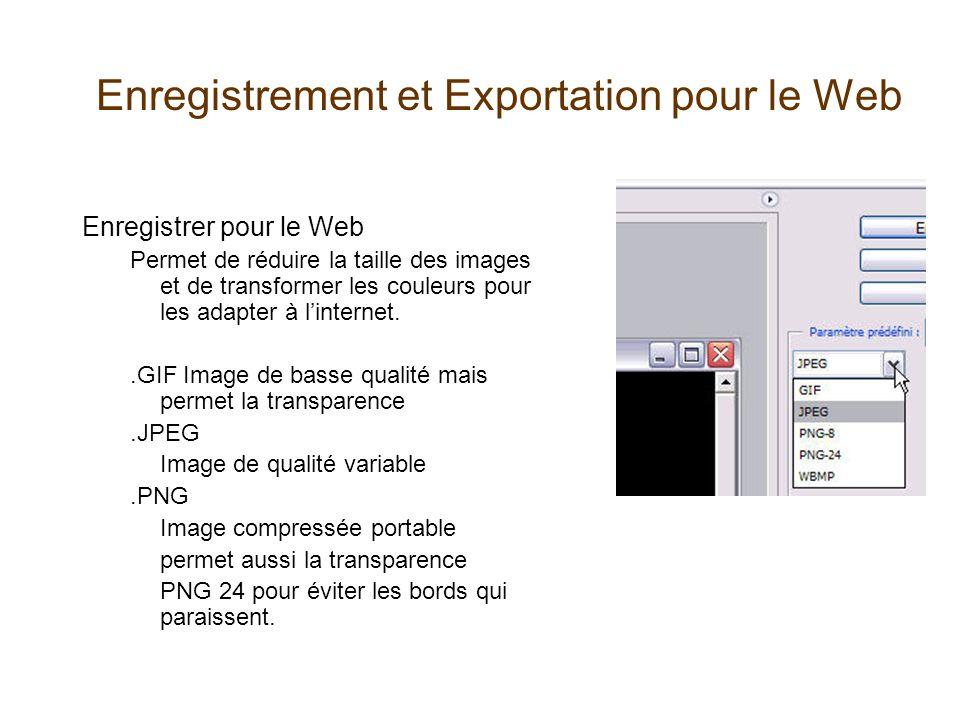 Enregistrement et Exportation pour le Web Enregistrer pour le Web Permet de réduire la taille des images et de transformer les couleurs pour les adapt