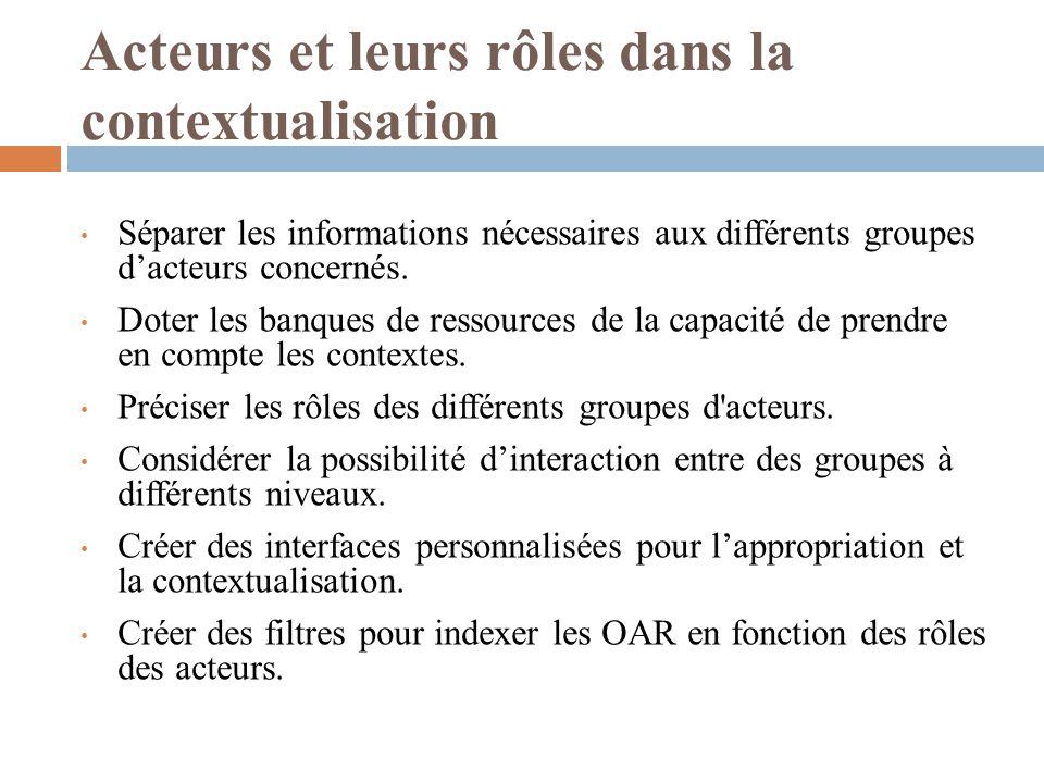 Acteurs et leurs rôles dans la contextualisation Séparer les informations nécessaires aux différents groupes dacteurs concernés. Doter les banques de