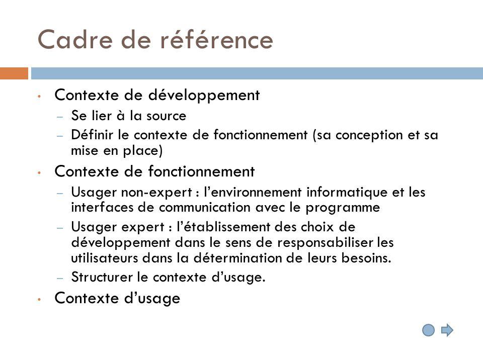 Cadre de référence Contexte de développement – Se lier à la source – Définir le contexte de fonctionnement (sa conception et sa mise en place) Context