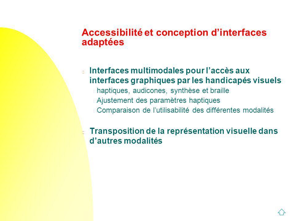 Accessibilité et conception dinterfaces adaptées n Interfaces multimodales pour laccès aux interfaces graphiques par les handicapés visuels u haptique
