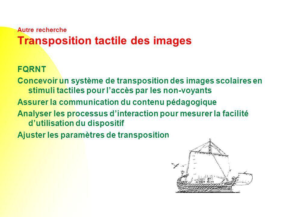 Autre recherche Transposition tactile des images FQRNT Concevoir un système de transposition des images scolaires en stimuli tactiles pour laccès par