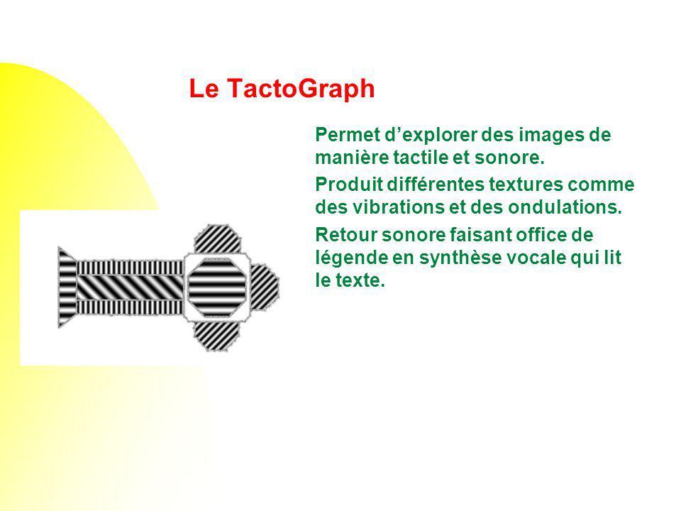 Le TactoGraph Permet dexplorer des images de manière tactile et sonore. Produit différentes textures comme des vibrations et des ondulations. Retour s