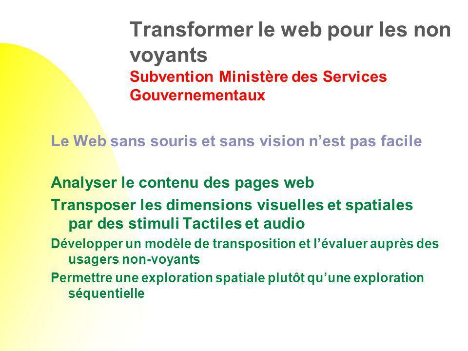 Transformer le web pour les non voyants Subvention Ministère des Services Gouvernementaux Le Web sans souris et sans vision nest pas facile Analyser l