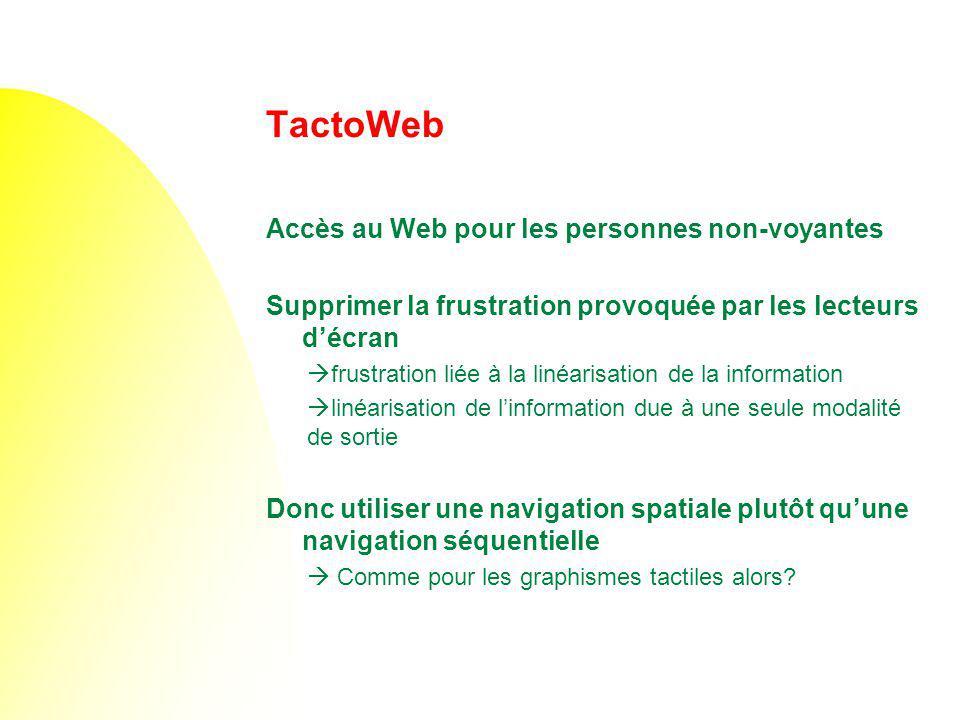 TactoWeb Accès au Web pour les personnes non-voyantes Supprimer la frustration provoquée par les lecteurs décran frustration liée à la linéarisation d