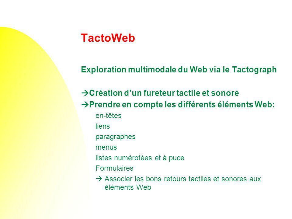 TactoWeb Exploration multimodale du Web via le Tactograph Création dun fureteur tactile et sonore Prendre en compte les différents éléments Web: en-tê